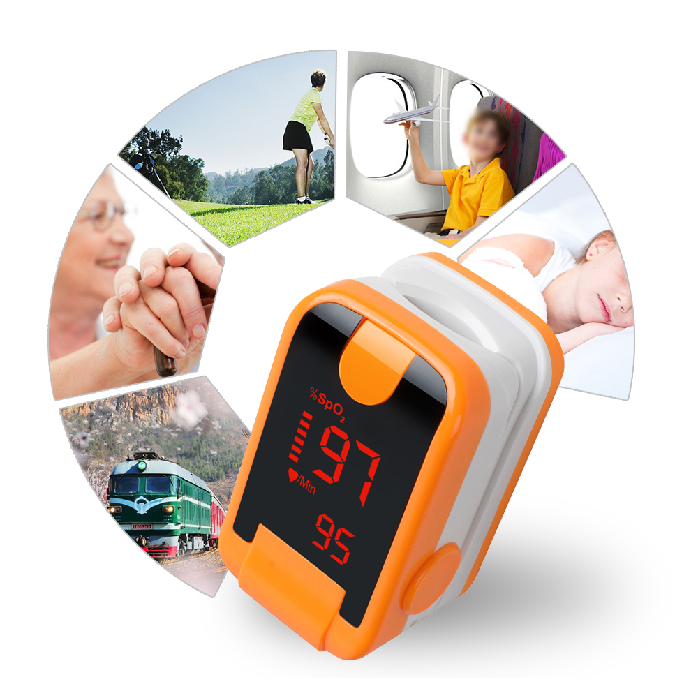 New Arrival Orange Portable LED Finger Tip Pulse Oximeter Blood Oxygen SpO2 PR Monitor