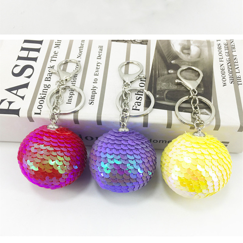 Fashion Round Ball Sequin Handmade Key Chain Gift Bag Keychain Jewelry Accessories Blingbling Glitter Key Ring in Key Chains from Jewelry Accessories