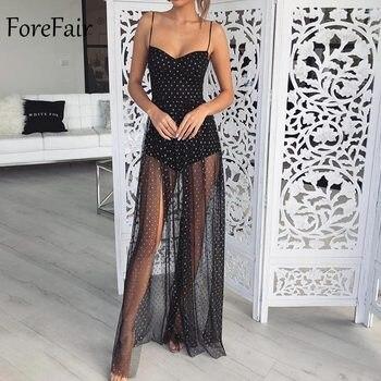 d6d89e16c7 Anteparo Mulheres Verão Sexy Lace Vestido Longo Transparente Spaghetti  Strap Strapless Elegante Bolinhas UMA Linha de Maxi Vestido de Festa
