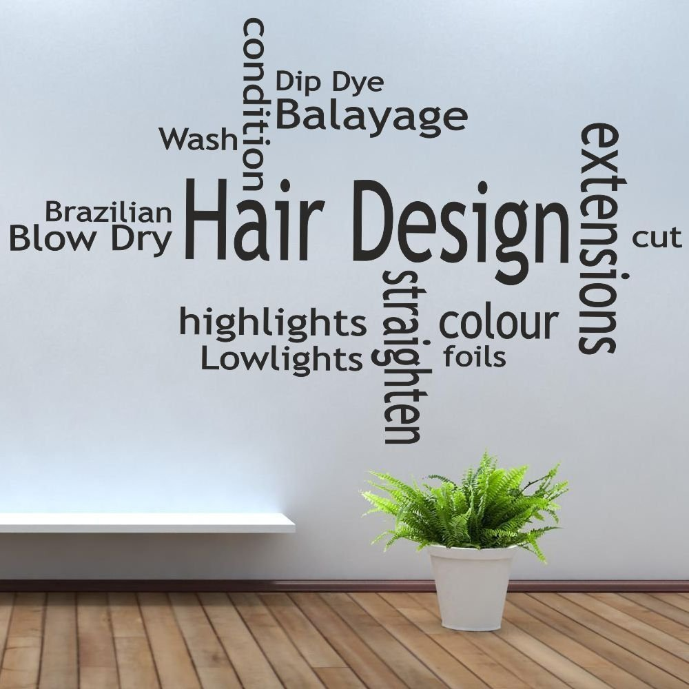 iClobber Hair Salon Collage Straightners Tongs Design Mural Wall Sticker Quote Picture Large Lime Hair Salon Shop Decoration