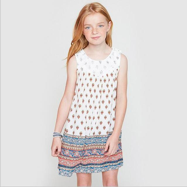 Big Baby Girls Printed Floral Dresses Teenager Fashion Sleeveless Dress Junior Summer Clothing 2017 Childrens Clothes