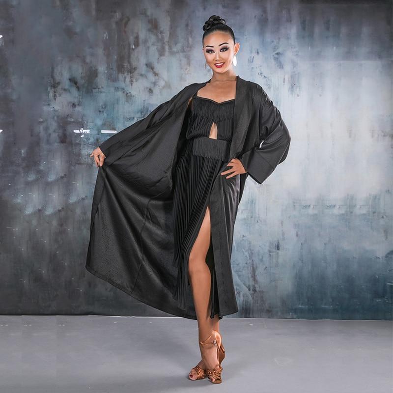 2019 Women Latin Dance Costumes Competition Embroidery Robe Ballroom Dance Competition Dresses Men Robe Charleston Danse
