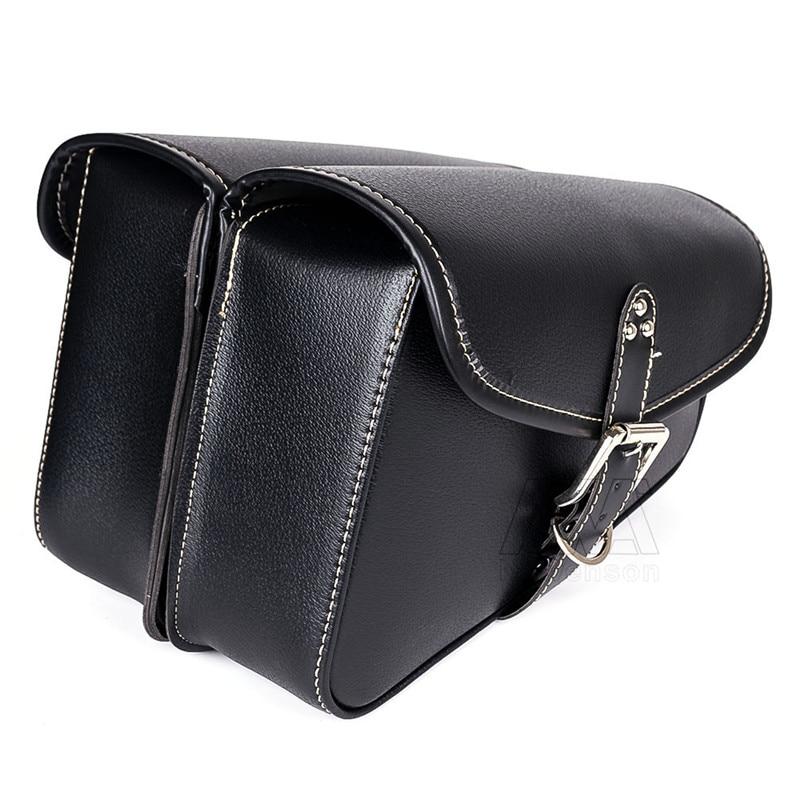 2 Pcs Motorcycle Motorbike Black PU Leather Saddlebag Left Right Side Tool Bags For Harley Sportster