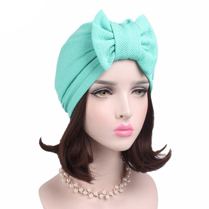 Image 4 - מוסלמי מוצק מצנפת נשים גדול Bowknot למתוח חיג אב טורבן כובע צעיף כובעים שווי ראש גלישת הכימותרפיה בימס קשתות שיער אבזרים-באביזרי שיער לנשים מתוך אביזרי אופנה באתר