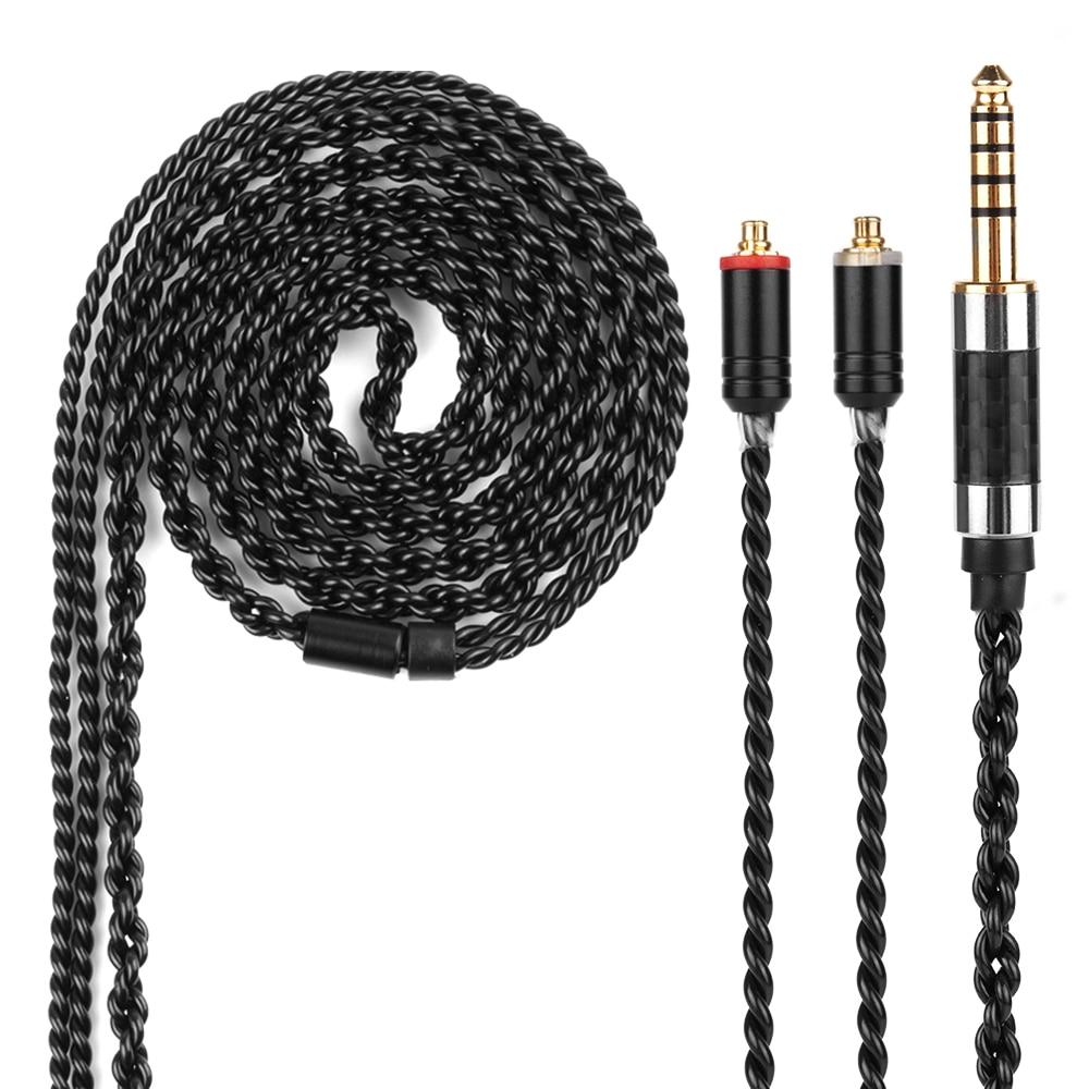 Yinyoo H3 H5 8 Core Amélioré Argent Plaqué Noir Câble 3.5/2.5/4.4mm Écouteurs Câble Avec MMCX /2Pin Pour KZ ZST/ZSR/ZS10/ED16/ZS6