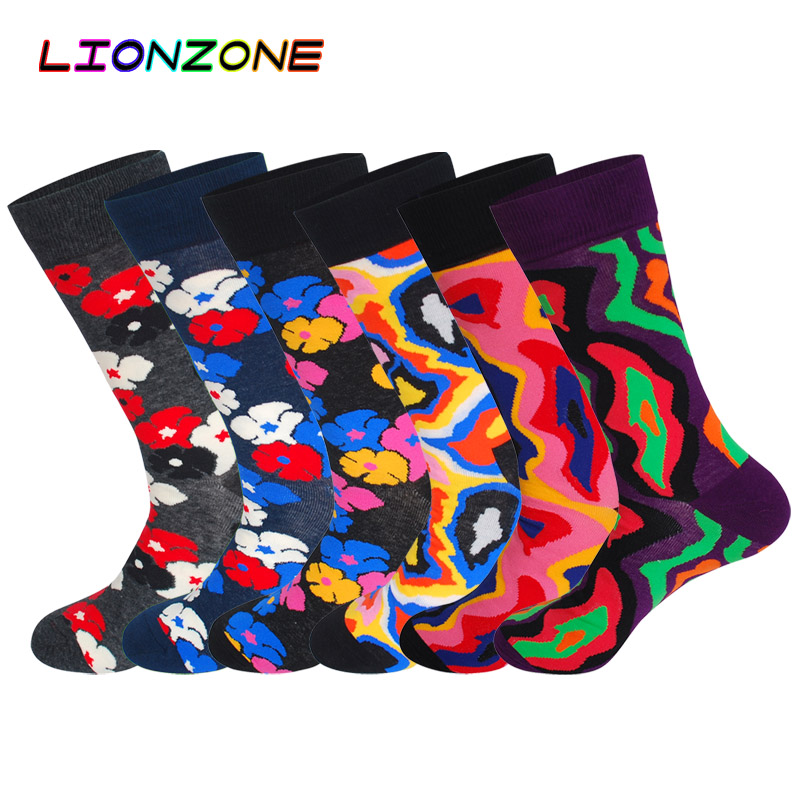 LIONZONE 6Pairs/Lot Mens Happy Socks Funny Cherry Blossoms Volcano Fulgurite Colorful Men Combed Cotton Tide Streetwear Socks