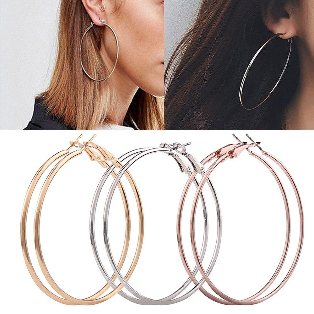 3 Pair Lady Women Thin Round Big Large Hoop Loop Earrings Stud Earring vitage reto fashion gold women ladies bohemian F80