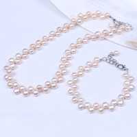 Pink bread real pearl chocker strand necklace and cute bracelet in link&chain bracelets women jewelry set
