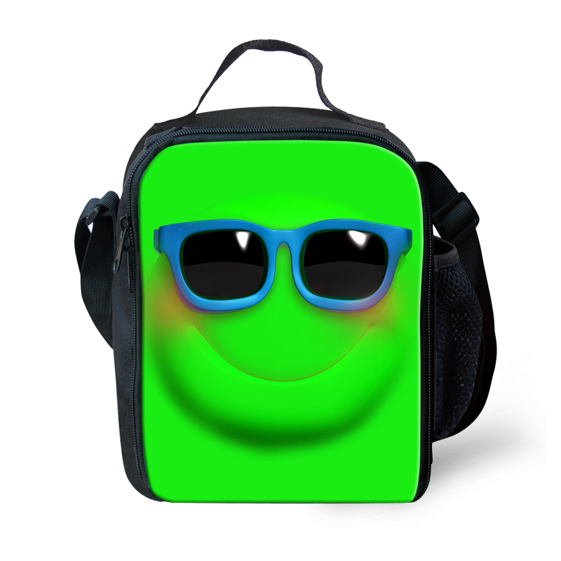 Unisex Thermal Lunch Bag Emoji Smiley Face Heater Lunch Box for Kids Large Men Women Lanch Box School Meal Package Bolsa