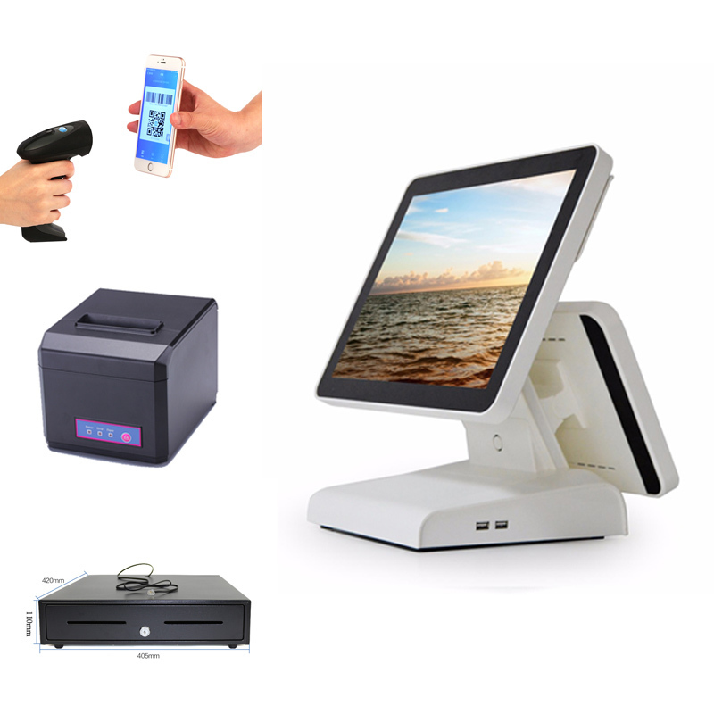 POS Point of Sale Retail System with Large 15 inch Touch Screen Tablet, Bar Code Scanner, Receipt Printer and Cash Drawer