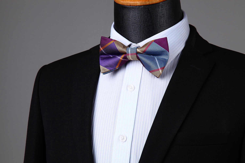 Çizgili Onay Polka Dot Erkekler Ayarlanabilir Resmi Önceden Bağlı papyon Düğün Parti # BRC1 Kelebek