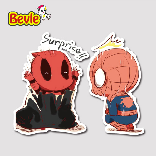 Bevle 9279 spider man deadpool waterproof stickers laptop luggage fashion car graffiti cartoon 3m sticker
