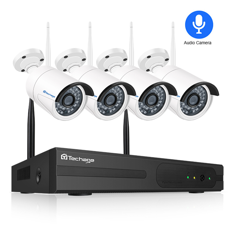 Techage 4CH 1080P Wireless 2MP Audio Sound Outdoor Wifi IP Camera Security System Plug Play Video
