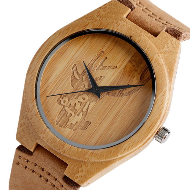 Creative Wooden Watch for Unisex Deer ELK Head Genuine Leather Strap Sport Bamboo Nature Wood Quartz Wristwatch Christmax Gifts