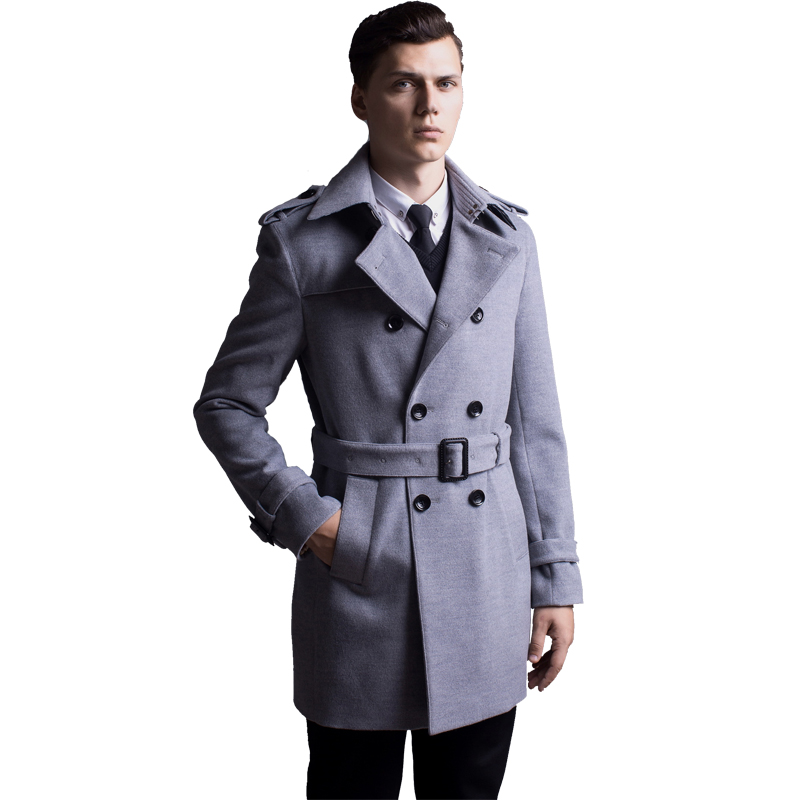 2017 New Fashion Long Cashmere Coat Men Winter Overcoat Mens Wool Thick Trench Coat Male Double
