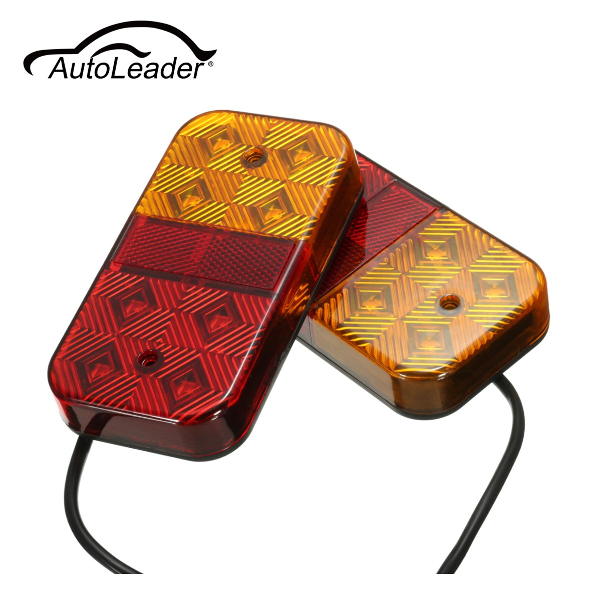 AutoLeader 8 LED Car Truck Lorry Tail Light Warning Lights Rear Lamps Waterproof Taillights Rear Parts for Trailer Truck Boat