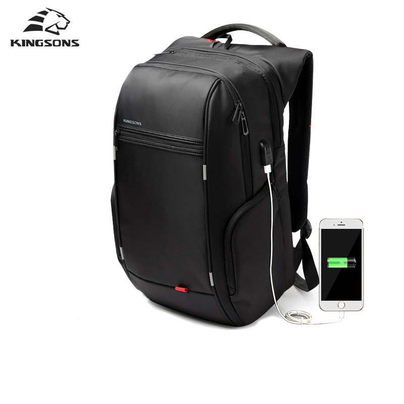 Kingsons External USB Charge Laptop Backpack Anti-theft Notebook Packsack 15/17 inch Waterproof Laptop Bag for Men Women brand external usb charge computer bag anti theft notebook backpack 15 17 inch black waterproof laptop backpack for men women