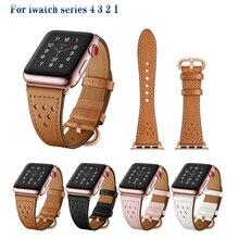 купить Leather watch strap for apple watch band 44mm&for apple watch 4 band 40mm Cowhide sport bracelet for iwatch series 3 2 1 42/38mm дешево