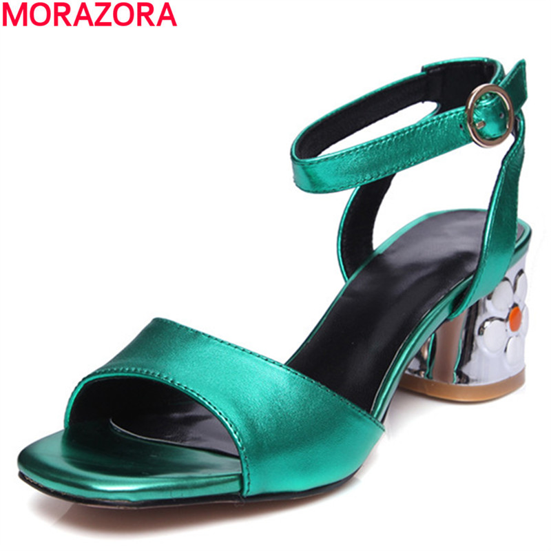 ec6c89a4fc038d Aliexpress.com   Buy MORAZORA unique fashion rhinestone women sandals  summer genuine leather top quality wedding shoes big size 34 41 from  Reliable Women s ...