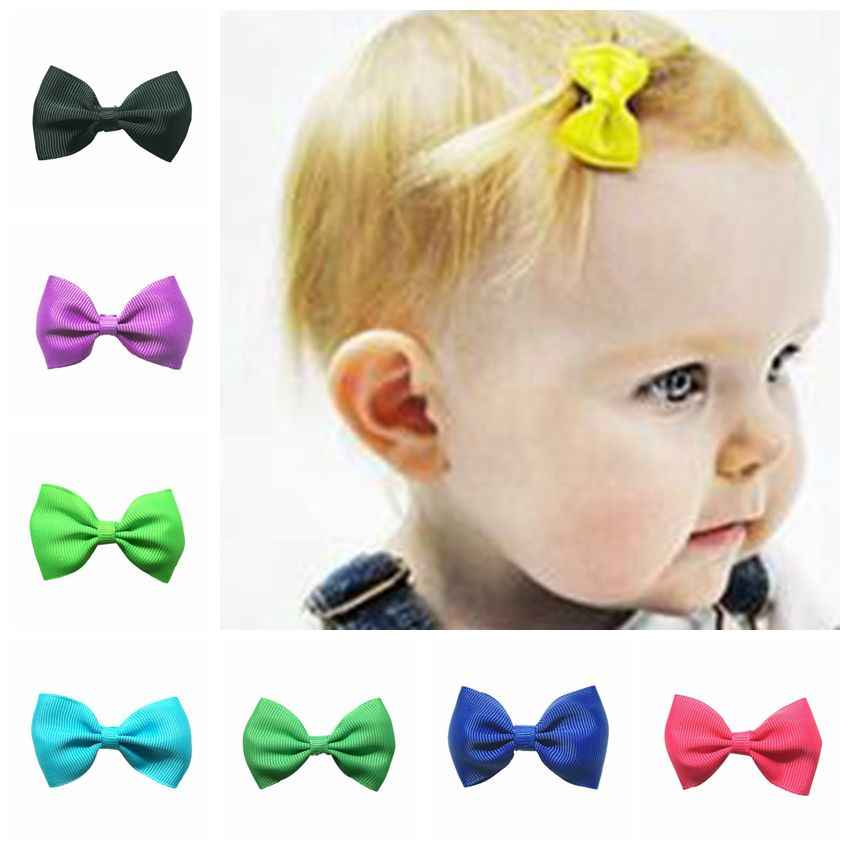 2018 Newborn Child Headbands Flower Mini Satin Ribbon Bow With Clips Hair Barrette Clips Kids Accessories Cute Headwrap 2.5Inch