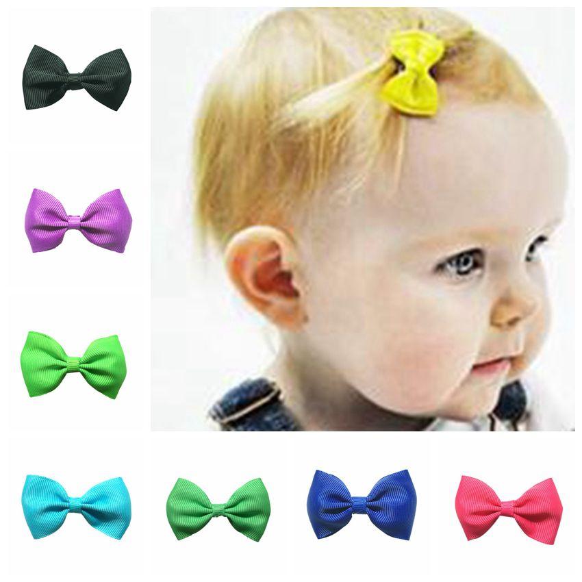 2018 Newborn Child Headbands Flower Mini Satin Ribbon Bow With Clips Hair Barrette Clips Kids Accessories Cute Headwrap 2.5Inch