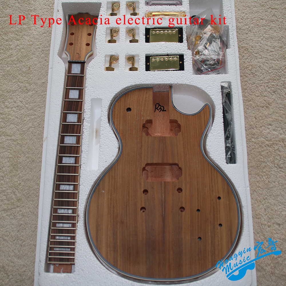 LP Style Electric Guitar DIY Kit Solid Wood Body Acacia Head Veneer Rosewood Fingerboard Guitar Accessories Set diy electric guitar kit unique body rosewood fingerboard neck for lp guitar body african mahogany with a 15 mm of american har