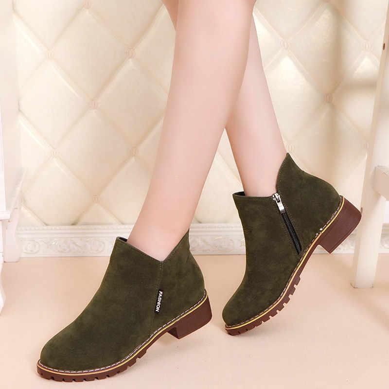 Suede Leer vrouwen Vintage Enkellaarsjes 2018 Herfst Winter Mode Vrouwen Rits Platte Laarzen Retro Vrouw Casual Schoenen