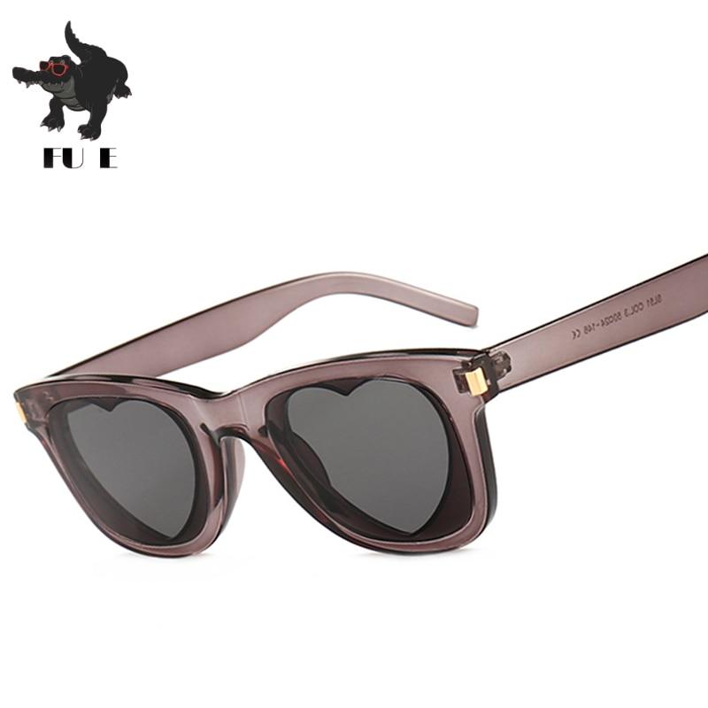 FU E Fashion Love Heart Sunglasses Women Transparent Pink Gray Green Square Style Sun glasses Female Heart Shaped 2019 Trendy