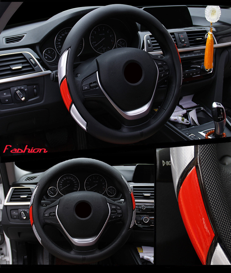 Reflective Movement Diamond Steering Wheel Cover 3 Colors Anti-slip For 38CM Car Styling Steering-wheel Car-covers Free Shipping 5