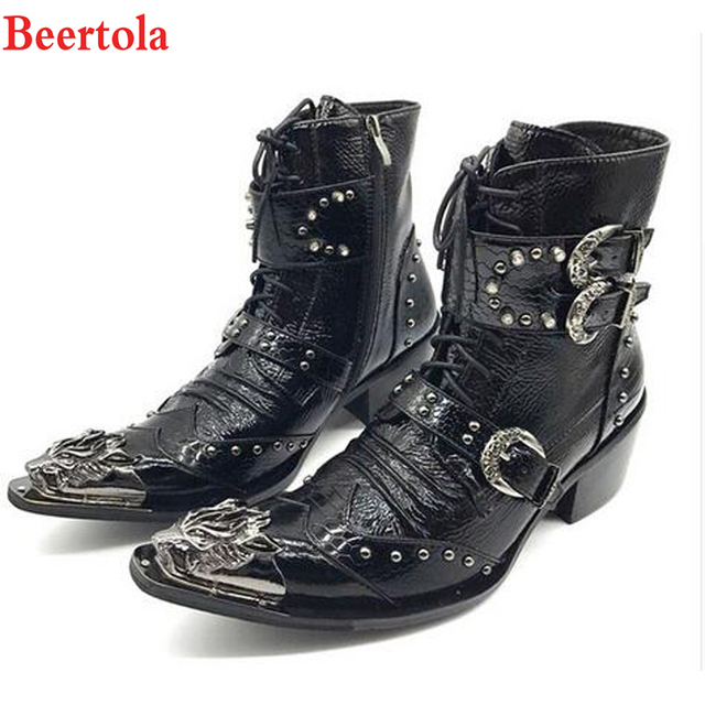 a8f4d25367c US $122.4 49% OFF|Beertola Hombre Botas Genuine Leather Men Shoes Ankle  Boots Metal Pointed Toe Lace Up High Top Buckles Military Cowboy Boots-in  ...