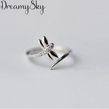 Модные 925 пробы серебряные кольца Стрекоза для женщин женские роскошные массивные ювелирные изделия панк регулируемое античное кольцо Anillos