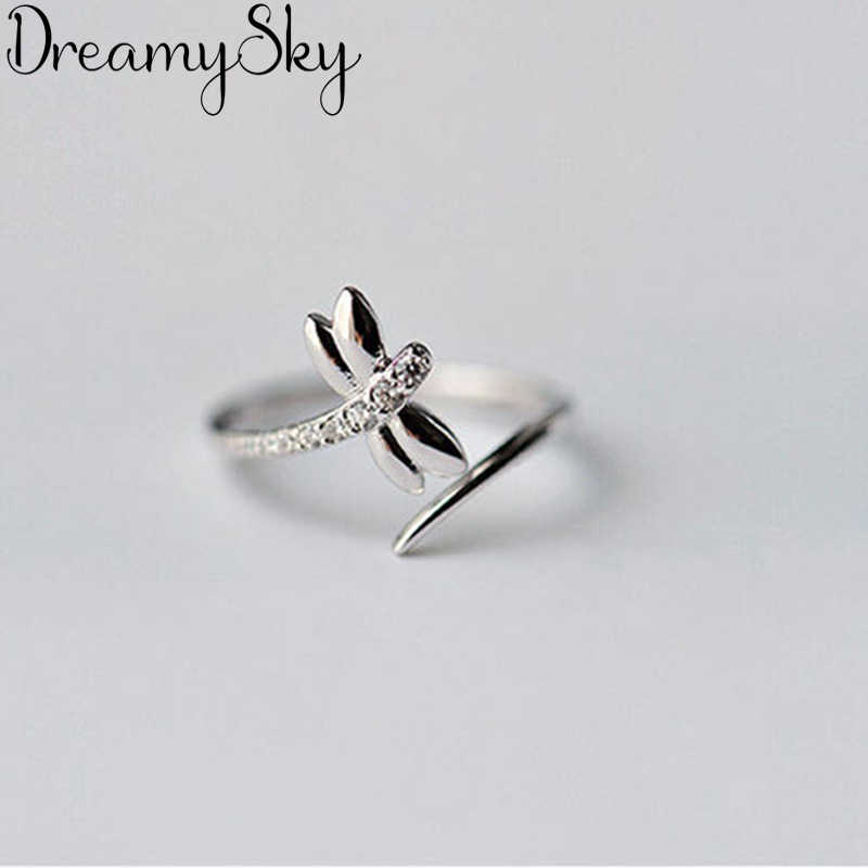 Fashion 925 Sterling Silver Dragonfly Rings For Women Ladies Luxury Statement Jewelry Punk Adjustable Antique Ring Anillos