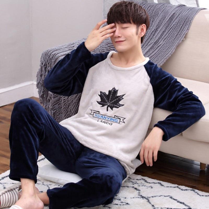 Plus Size S-4XL 5XL 6XL Flannel Pajamas Sets Winter Men Thick Warm Large O-neck Sleepwear Women Cartoon Coral Fleece Lounge Set