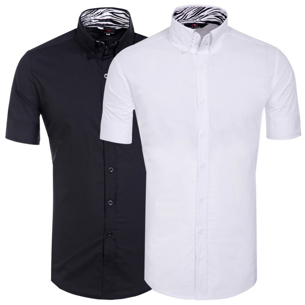 Men Short Sleeve Shirt Slim Fit Button Down Dress Formal Casual T-shirt Tee Tops