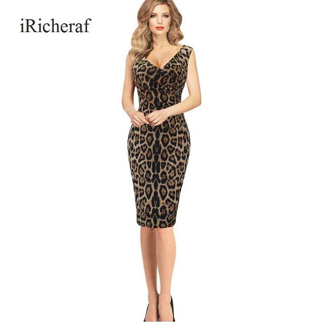 Sexy Leopard Dress Women V-neck Sleeveless Slim Summer Wrap Dresses Knee-length  Fashion Vestidos Plus Size Robe Femme Hot Sale 05b2b670125b