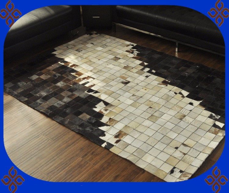 Fashionable art carpet 100% natural genuine cowhide leather carpetFashionable art carpet 100% natural genuine cowhide leather carpet
