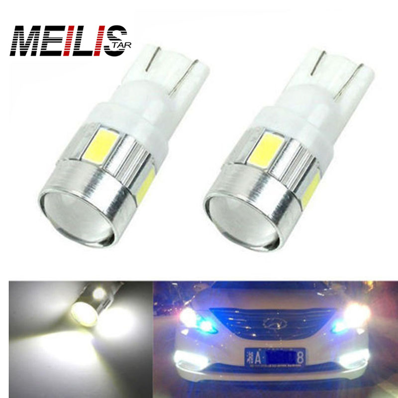New update 4 colors T10 LED 1 PCS Auto Car Light Bulb 5730 SMD 6 LED W5W 12V Interior Parking Projector Lens Free Shipping 3156 12w 600lm osram 4 smd 7060 led white light car bulb dc 12v