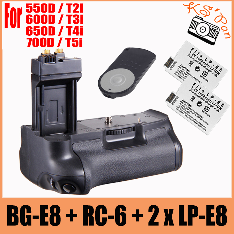 Vertical Multi-power Battery Grip as BG-E8 BG E8 + 2x LP-E8 for Canon EOS 700D 600D 550D 650D T2i T3i T4i T5i + RC-6 Remote neewer bg e8 replacement battery grip for canon eos 550d 600d 650d 700d rebel t2i t3i t4i t5i slr cameras