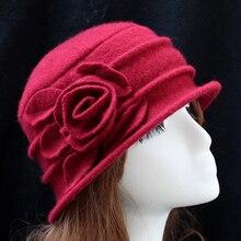 Зимняя женская винтажная шляпа церковный колокол Хлопушки дамские шляпы цветок однотонные кепки шерсть ведро Hap высокое качество женская шляпа