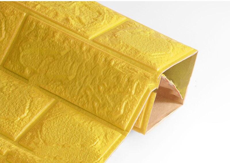 3D настенные наклейки имитация кирпича Декор для спальни водонепроницаемые самоклеящиеся обои для гостиной кухни ТВ фон Декор - Цвет: Yellow  60x60cm