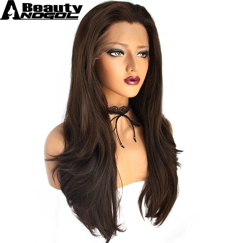 ANOGOL Красота волос кепки + вдова пик темно коричневый длинные естественная волна высокая температура Волокно синтетический синтетические в...