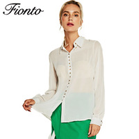 Fionto Women Blouse 2017 Women Long Sleeve Shirt Collar Loose Chiffon Rivet Buttons Shirt Casual Tops