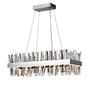 Image 3 - יוקרה עיצוב מודרנית גביש נברשת LED אור AC110V 220V cristal זוהר כרום חדר אוכל סלון מנורה