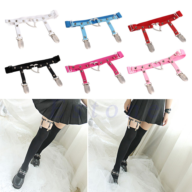 Supply Hot Sexy Studded Heart Garters Rivet Punk Goth Harajuku Style Handmade Garter Belt Leg Ring For Women Gift One Free Adjust Size Garters Women's Intimates