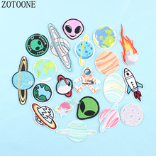 Cartoon Alien Planet Astronaut Patches Clothes Stickers Iron On Embroidered Patch Diy Cute Kids Fire Badge Parches For Clothing