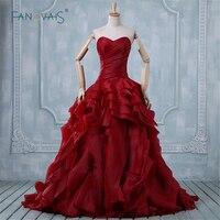 Western Style Wedding Dress 2015 Hot Sale Sweet Angel Fashionable Red Ball Gown Ruffle Skirt Elegant