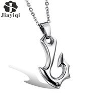 Jiayiqi 2017 New Fashion Jewelry Men S Stainless Steel Necklaces Fish Hooks Pendants Zircon Bead Choker
