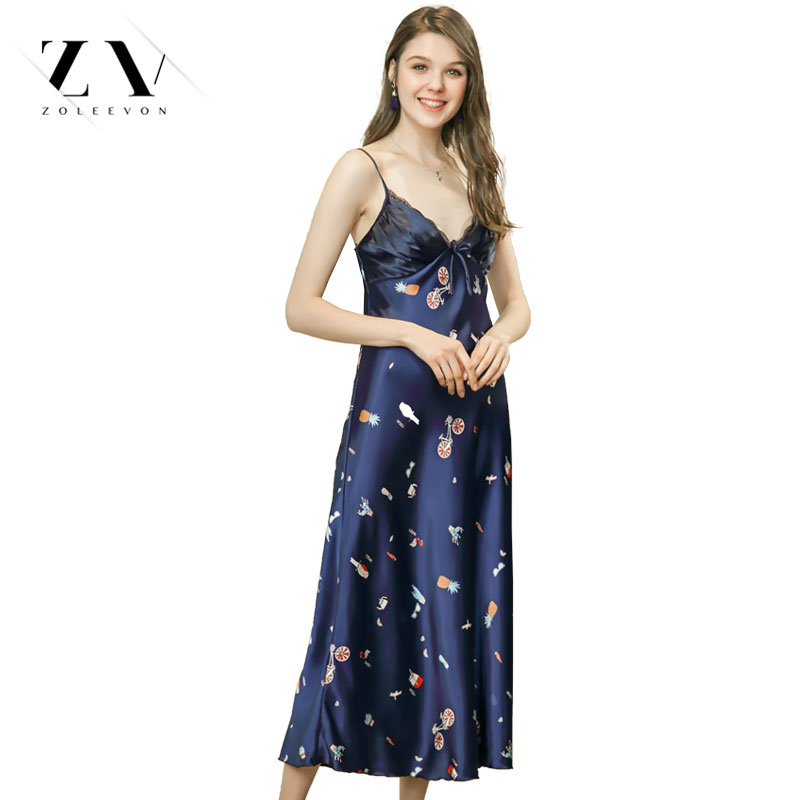 Long Nightwear sexy sleepwear Backless Slip Sleepwear Women Sexy Nightgown Fashion Lingerie Nightdress V-Neck Home Dress