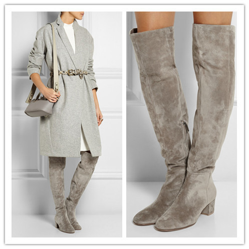 a125662cf0d76 Top Selling Women Grey Suede Over the Knee Boots Thick Heel Shoes Woman  Lady Leisure Casual Thigh High Boots Women Autumn Boots