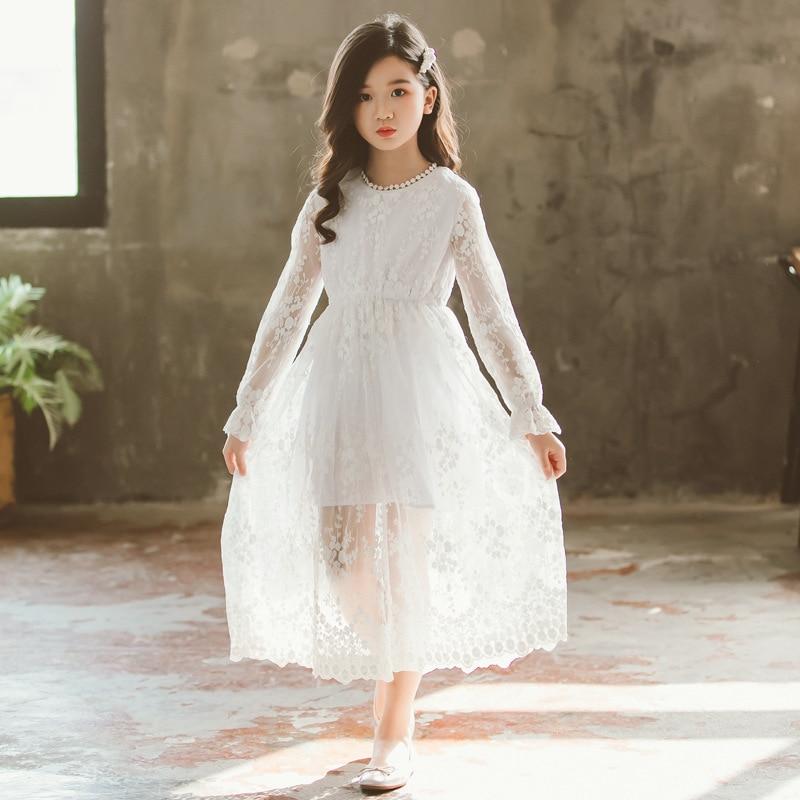 2019 New Children White Lace Dress Baby Princess Dress Summer Girls Dress Kids Maxi Dress Toddler Floral Clothes Beautiful,#5132Dresses   -
